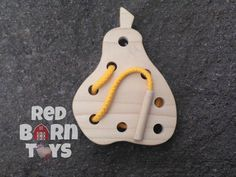 This pear shaped lacing board is sure to bring some yummy fun for any young child. Hand cut from 1/2 solid poplar wood edges are hand shaped for a