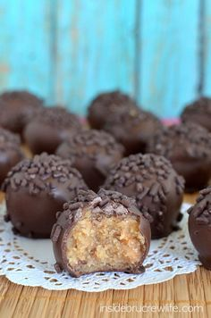 Butterfinger Cookie Dough Truffles - no bake cookie dough truffles filled with Butterfinger Bars and dipped in chocolate