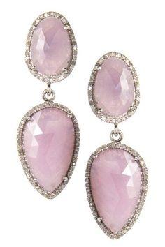 Pink Sapphire & White Diamond Double Drop Earrings