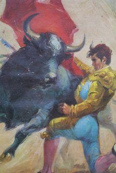 Matador Original Painting Ballestar on Canvas. Mid Century Painting. Bullfighter. Hemimgway. Plaza del Torros