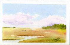 Low country Marsh - Landscape (clouds) by Capt. Elaine - watercolours