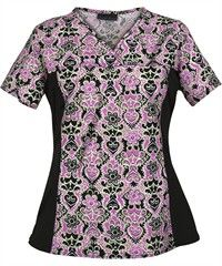Cherokee Flexibles Scrubs Scrolling Along Print Top  Style #  CK2875SL | Radiant Orchid