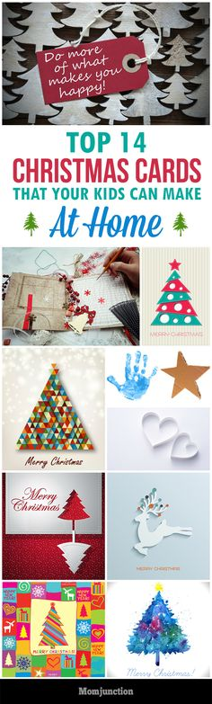 Top 14 #Christmas Card Ideas For Kids To Make At Home