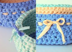 crochet baskets from tshirt fabric
