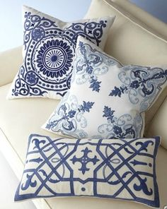 Blue-and-White Pillows. Contemporary pillows by Horchow