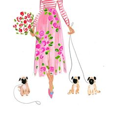 Nothing goes together better than pink roses and pugs.....New card, print and printable in the shop! Perfect for Easter or Mother's Day!
