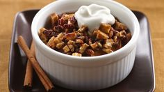 Pillsbury® cinnamon rolls jump-start a bread pudding with a creamy custard and rich white chocolate.