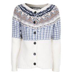 Eribé Winter White Patterned Knit Cardigan ($180) ❤ liked on Polyvore