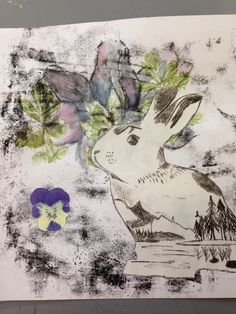 Phoebe's mix of monoprint and flower prints