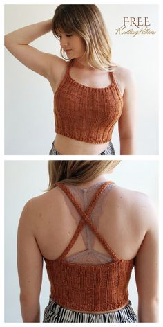 Knit Crop Top Free Knitting Patterns: Tank Top for girls Summer Sweater Top Top Crop Tejido En Crochet, Crochet Halter Tops, Crochet Top, Sweater Knitting Patterns, Easy Knitting, Cropped Tops, Bauchfreier Pullover, Bralette Pattern, Crop Top Pattern