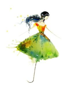 ce7231ebbbb9f Items similar to The Twist - Art Print dancing umbrella girl spirit ballet dancer  woman rain forest fashion sketch design wall gift watercolor Oladesign 5x7  ...