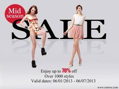 Over 1000 styles with up to 70% off, you can't image how many amazing products in this sale!! Only the products you can't image, no the products you can't buy!! Haha~~  Valid date: 06/01/2013 ~06/07/2013  What are you waiting for ??Go!!!!!!  http://www.romwe.com/Mid-season-Sale-c-213.html?pp=3400