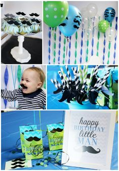 "This ""little man"" mustache birthday party is so cute for a little boy's first birthday! We love the colors and accessories! Click for more details!"