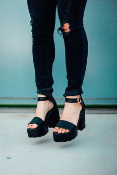 Great height and actually so comfortable, Black Ankle Strap Chunky Heel Sandals.