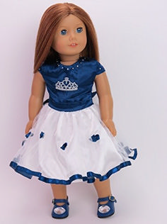 """18"""" DOLL CLOTHES navy and white crown doll dress. Doll dress up."""