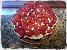 Danish summer marzipan cake with strawberries and cream