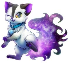 Space Cat by Kawiku Pet Anime, Anime Wolf, Anime Animals, Cute Animals, Cute Creatures, Fantasy Creatures, Mythical Creatures, Cute Animal Drawings, Kawaii Drawings