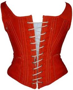Antique corsets - 1860s red wool corset