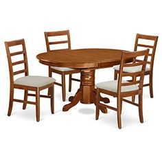 East West Furniture 5 Piece Set Avon Table Featuring Leaf And 4 Cushioned Seat Dinette Chairs In Saddle Brown