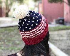 American Flag Knit Beanie // USA Red, White, and Blue Hat // Patriotic Winter Hat // Slouchy Knit Hat // Pom Pom Hat // American Flag Hat