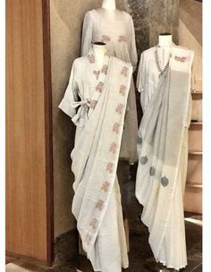 Beautiful khadi Sarees. Saree Draping Styles, Drape Sarees, Saree Styles, Simple Outfits, Simple Dresses, Indian Dresses, Indian Outfits, Saree Dress, Sari