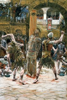 The Scourging by James Tissot {c.1886-94} ~ Jesus