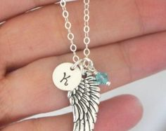 Personalized Angel Wing Necklace Memorial by CYDesignStudio