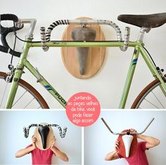 Inspiração-do-Dia-Suporte-Para-Bicicleta-2 Mais Bike Hanger, Bike Rack, Loft Storage, Bike Storage, Tree Bookshelf, Paint Bike, Bike Details, Retro Bike, Sweet Home Alabama