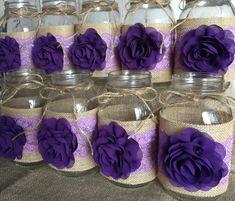 Items similar to 10 burlap mason jar sleeves, purple and lavender wedding ball mason jar sleeves on Etsy Purple Mason Jars, Burlap Mason Jars, Ball Mason Jars, Mason Jar Centerpieces, Mason Jar Wine Glass, Wine Bottle Crafts, Mason Jar Crafts, Mason Jar Diy, Diy Projects To Try