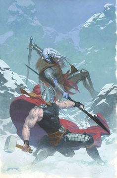 Anthony's Comic Book Art :: For Sale Artwork :: Thor: God of Thunder #16 Painted Cover - Thor vs. Malekith the Accursed - 2013 Signedby artist Esad Ribic
