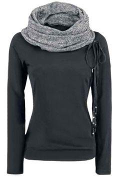 Black and Grey cowl wrap hoodie