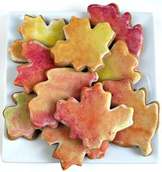 "Gingerbread Fall Leaves Cookies- Easily ""sponge painted"" with food coloring, these soft, chewy ginger bread cookies will be the talk of your fall holiday gathering! @ The Monday Box #cookiemonth14"