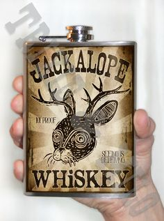 Jackalope Whiskey  Stainless Steel Flask  8oz by trixieandmilo, $26.00
