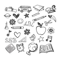 Awesome School Doodles Brushes. fun doodles for back-to-school! CLICK ON 'PREVIEW' TO SEE ALL THE BRUSHES! compatible with Photoshop CS and up. image pack included. DONATE @ http://coy-dreamer.com/etc.html  #doodles #drawings #fun #random #school #scribbles Check more at http://psdfinder.com/free-psd/school-doodles-brushes