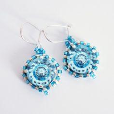 Boucles d'oreille bleues en cristal de Swarovski et delicas