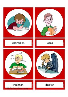 German Grammar, German Words, German Language Learning, English Language, Kindergarten Vocabulary, Deutsch Language, Germany Language, Action Verbs, Starting School