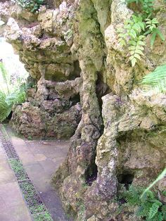 The grotto at the Swiss Garden, Bedfordshire. Yiou enter through a very ordinary door - and find yourself inside a tufa grotto with ferns growing in the walls.