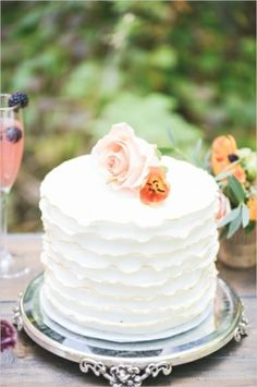 Wedding Cakes: Peach And Purple Wedding Inspiration | Photography by Tamara Gruner on Wedding Chicks via Lover.ly