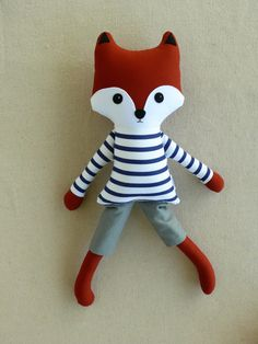 Custom listing for Juliane:  This is a handmade cloth fox doll measuring 20 inches. He is wearing a handsome navy and white striped, long-sleeved