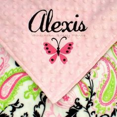 Baby Girl Minky Blanket  Security Blanket by southernsassypants, $26.50