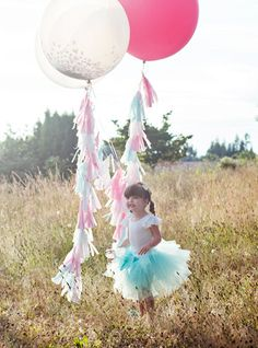 Pink, Aqua and White Confetti Balloon with Tassels - As Seen on Kara's Party Ideas