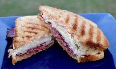 Pastrami Reuben Sandwich. Recipe by Steven Raichlen.
