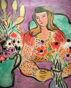"Henri Matisse's ""jeune fille aux anemones sur fond violet"" 1944 #christies #impsmod #daysale #henrimatisse sometimes I wish I could be a woman in a Matisse painting"