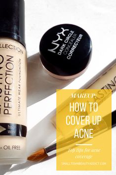 Check out my top tips for how to cover your acne with makeup and create the illusion of a flawless base! Acne Makeup, Mua Makeup, Makeup Tips, Green Color Corrector, Beauty Blender How To Use, Acne Oil, Foundation Tips, Estee Lauder Double Wear, Color Correction