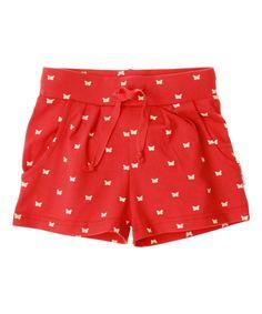 Baba Babywear adorable butterfly printed red shorts for girls. baba-babywear.en.emilea.be