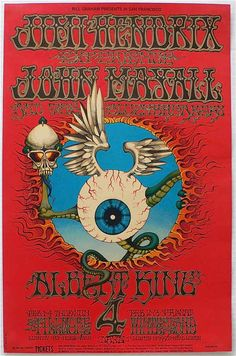 """psychedelic-sixties: """" """"Flying Eyeball""""Jimi Hendrix Experience/John Mayall & the Bluesbreakers/Albert King/Holy See & McKay's Headlights, February 1968 - Fillmore Auditorium (San Francisco, CA). Art By Rick Griffin. Rock Posters, Band Posters, Movie Posters, Jimi Hendrix Experience, Psychedelic Rock, Psychedelic Posters, Psychedelic Experience, Hippie Posters, Illustration Photo"""