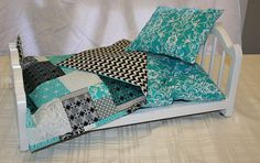 Teal and Black Mattress and Block print blanket Doll Bedding by RudyCrafts.  Perfect for American Girl Doll Beds.