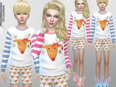 Sweet pyjama set with reindeer theme, for your( female and male)child sims.  Found in TSR Category 'Sims 4 Sets'