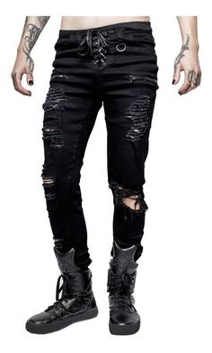 The Diablo Jeans by KillStar are absolutely fantastic. The front features a lace-up fly, D-ring on front belt loop, zip detail and distress detailing on each leg. Black Ripped Jeans, Skinny Fit Jeans, Goth Guys, Goth Men, Punk Outfits, Gothic Outfits, Rockn Roll, Punk Fashion, Gothic Fashion Men