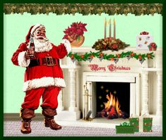 Animated Christmas Fireplace | Santa at Fireplace Animated GIF #1402 - Animate It!